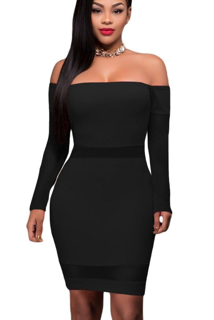 Black Off Shoulder Mesh Insert Long Sleeves Bodycon Dress Mb22931 2
