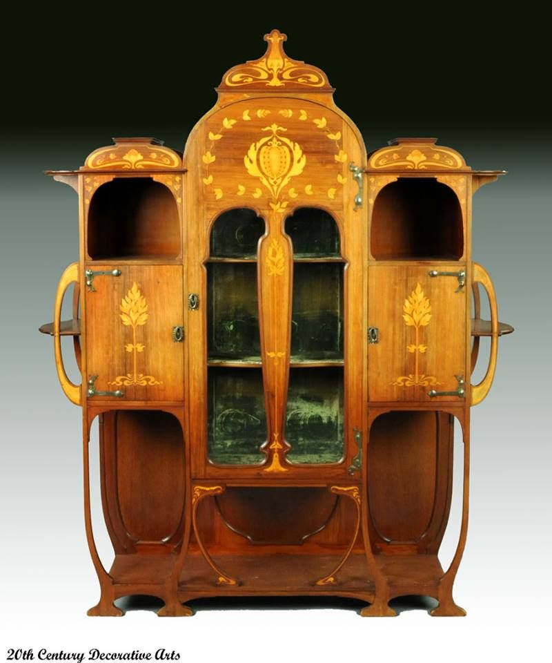 An Art Nouveau inlaid mahogany cabinet by Christopher Pratt & Sons ...
