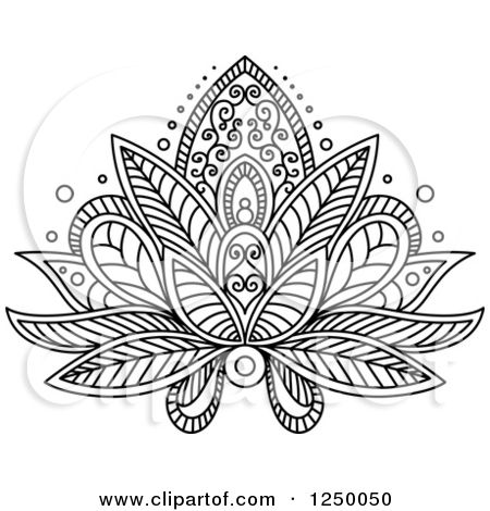 Clipart Of A Black And White Henna Lotus Flower 16 Royalty Free