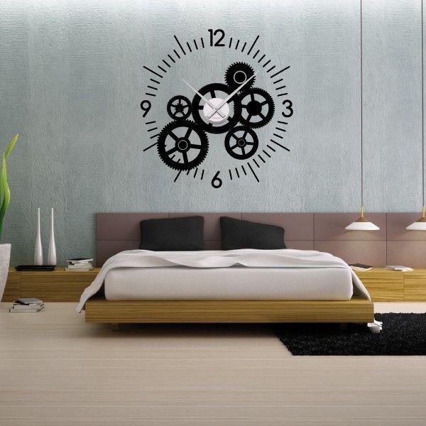 Sticker mural horloge g ante mecanisme squelette avec m canisme aiguilles logos parement for Horloge geante murale