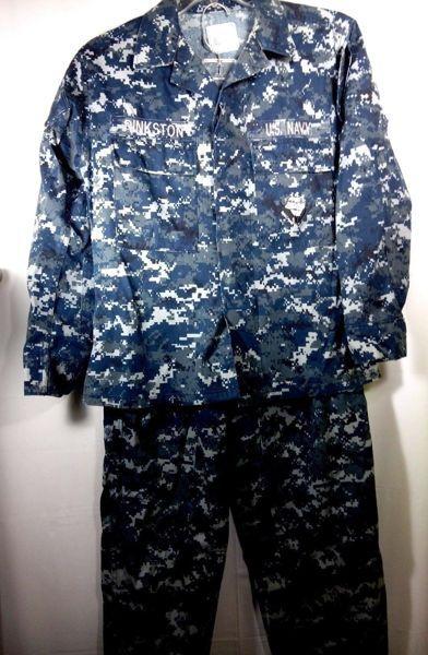 445b26f8d4bea US Navy Working Uniform NWU Blue Digital Camo BDU Type Shirt small & Pants  34