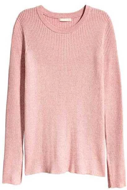 H&M - Ribbed Sweater - Light pink melange - Ladies | Fashion ...