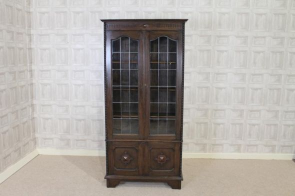This lovely oak bookcase with glass doors is a lovely addition to our large  range of antique oak furniture. A truly elegant circa Jacobean revival. - This Lovely Oak Bookcase With Glass Doors Is A Lovely Addition To