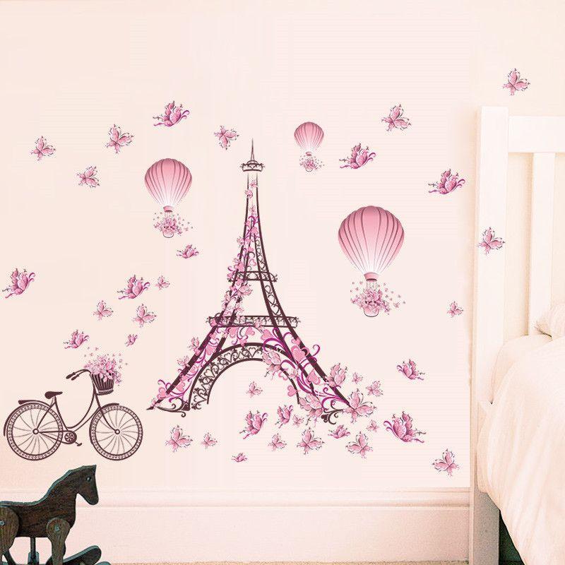 Stickers Muraux Pas Cher.Pas Cher Romantique Paris Amour Couple Tour Eiffel Pvc