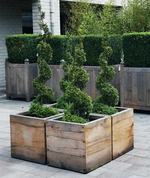 Beautiful oak planter boxes