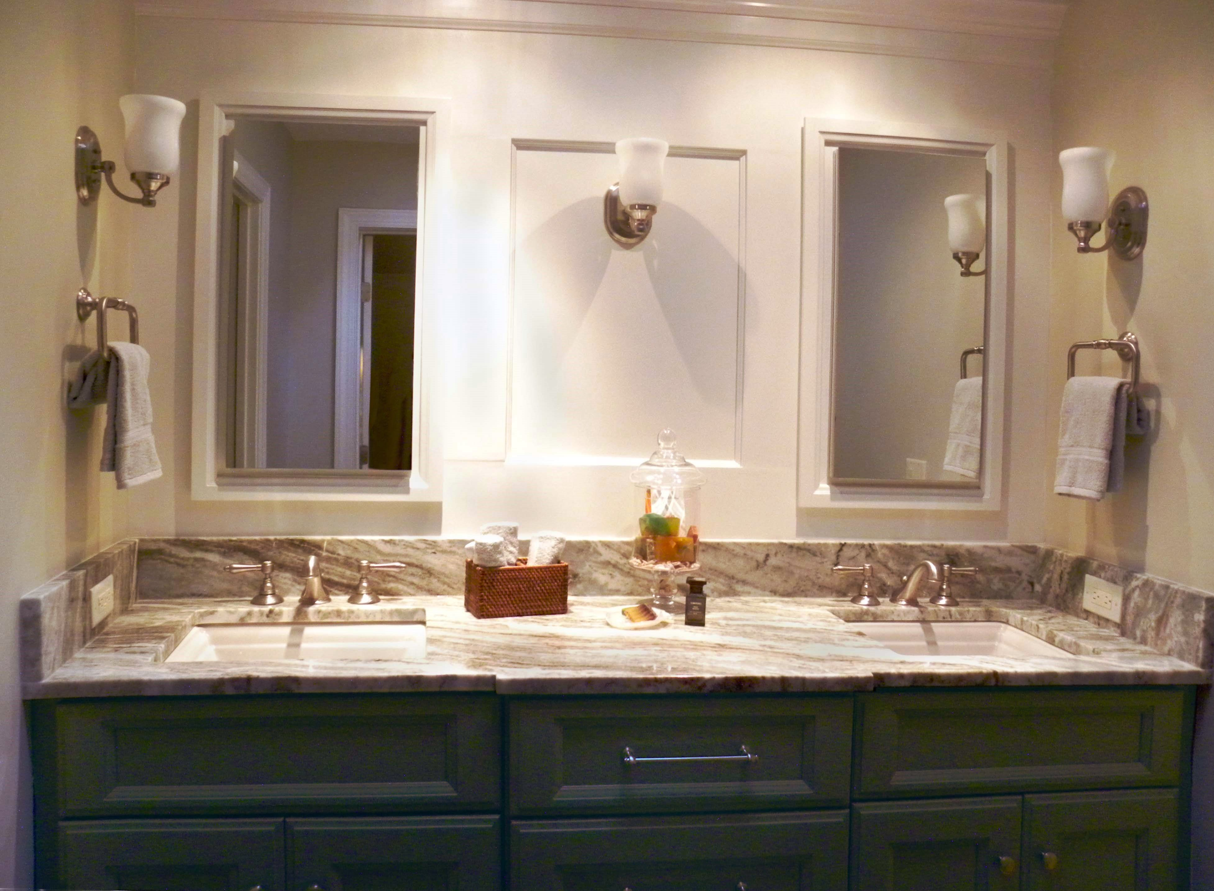 His And Hers Rectangular Sinks So Practical And Pretty Porcelain Countertops Rectangular Sink Granite Tile