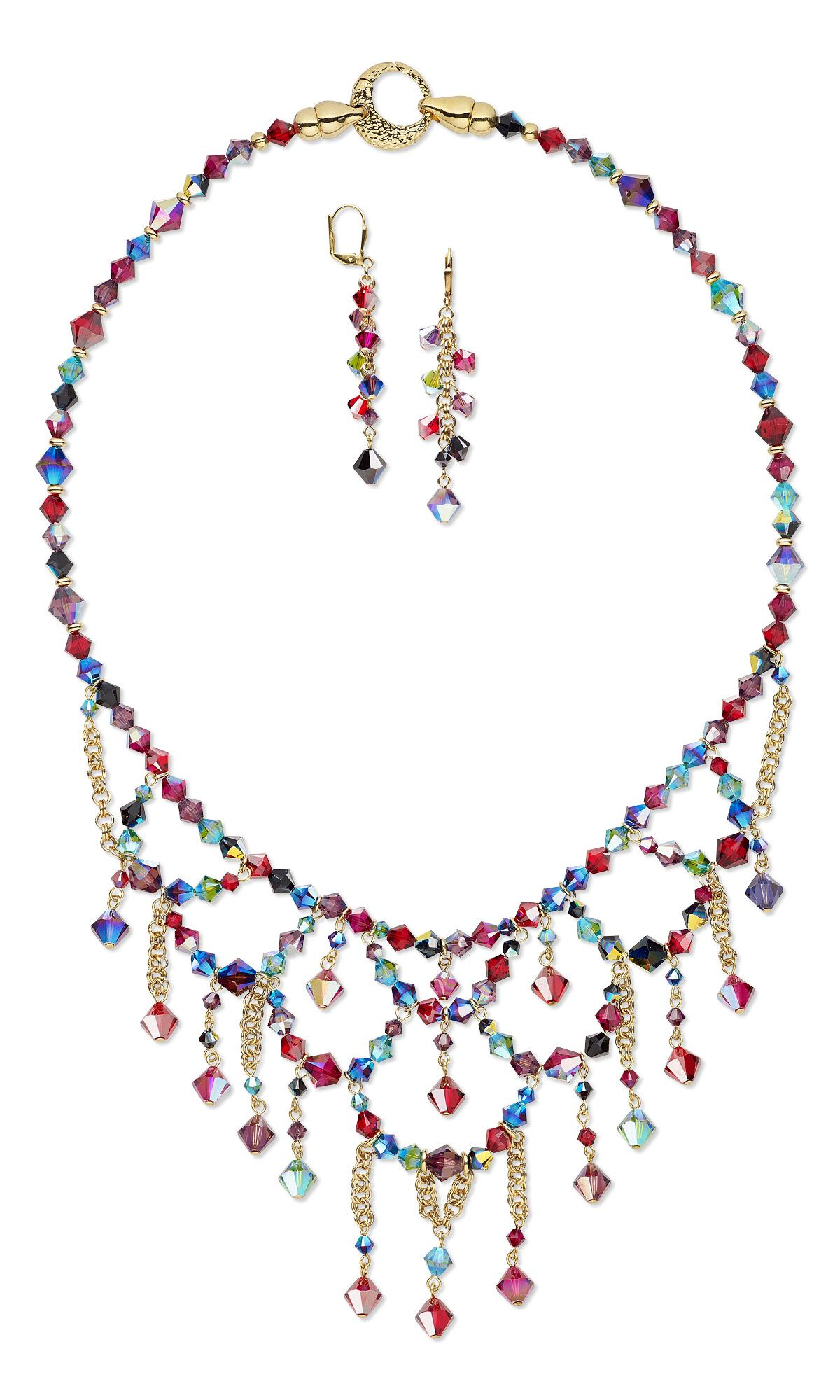 Jewelry Design - Bib-Style Necklace and Earring Set with Swarovski ...