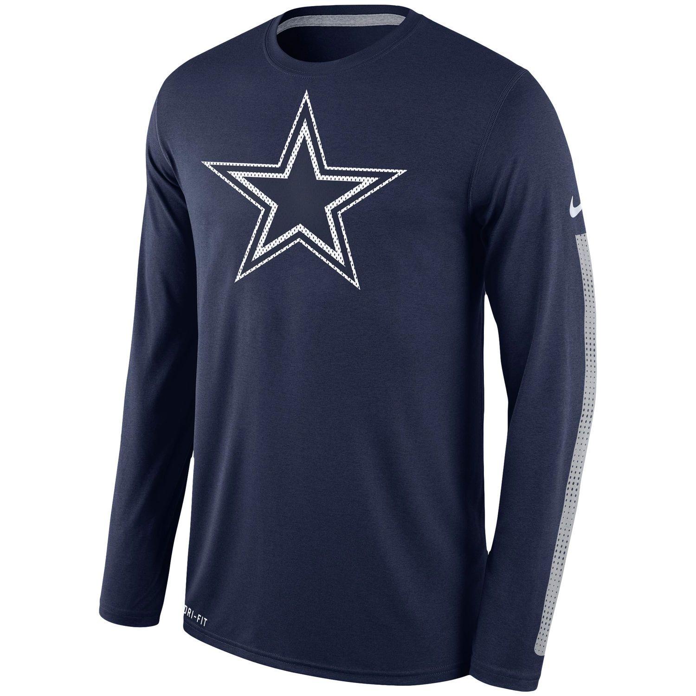 92e3afdf9 Men's Dallas Cowboys Nike Navy Legend Logo Long Sleeve Performance T-Shirt