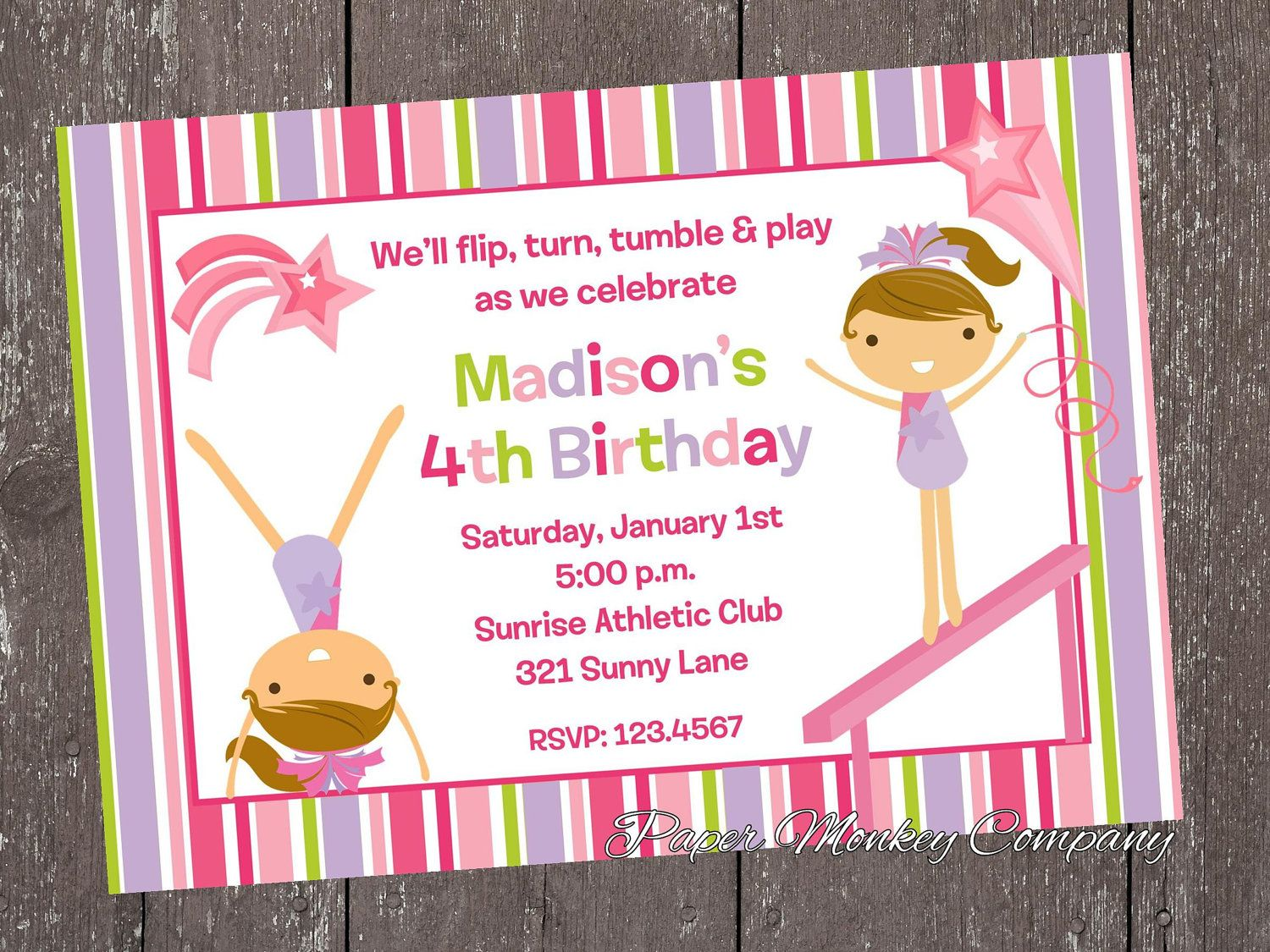 Free Gymnastic Birthday Invitations Download this invitation for ...