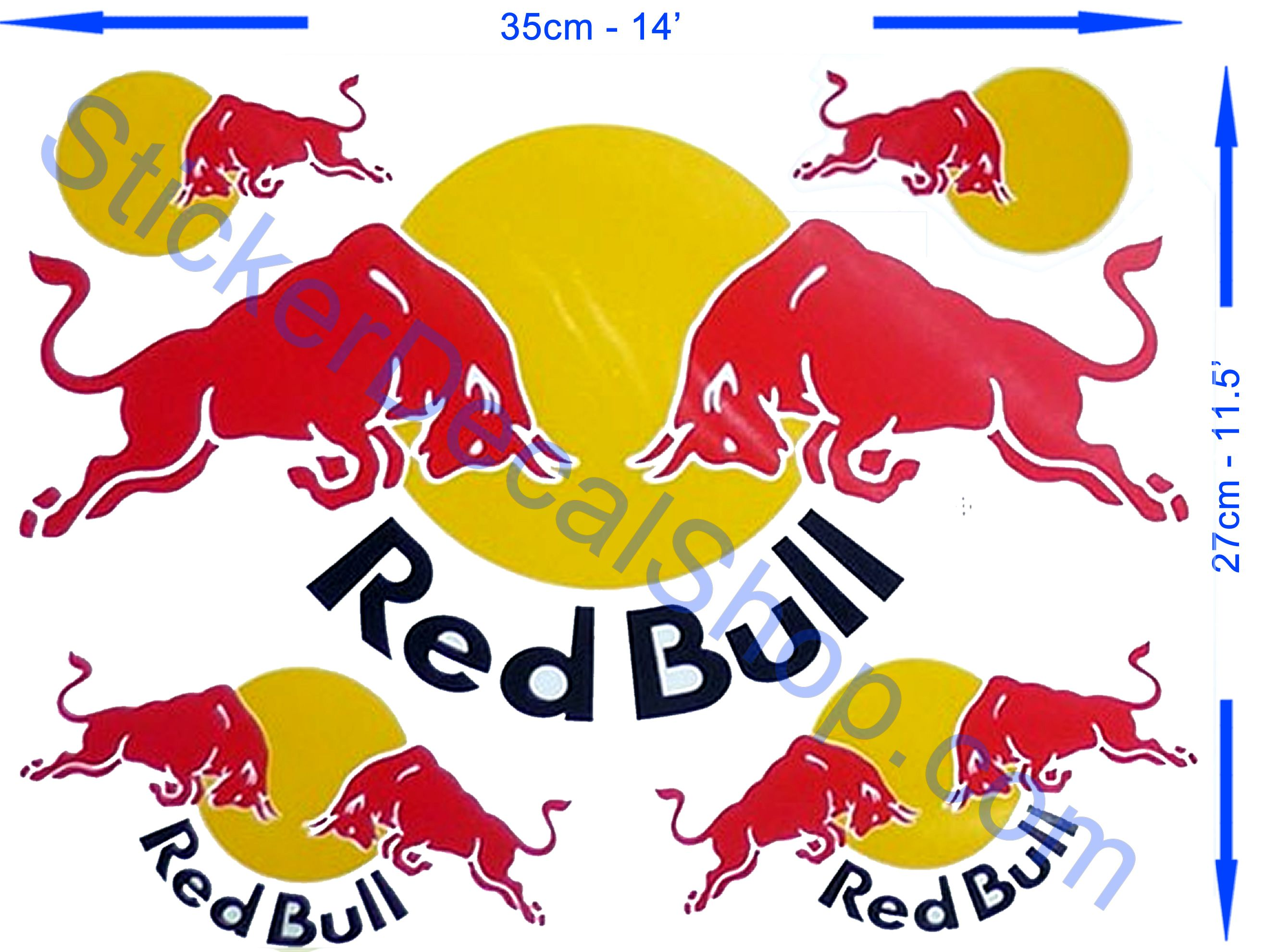 Red bull sticker on white background whit black letters big dimension aproximatly size of a3