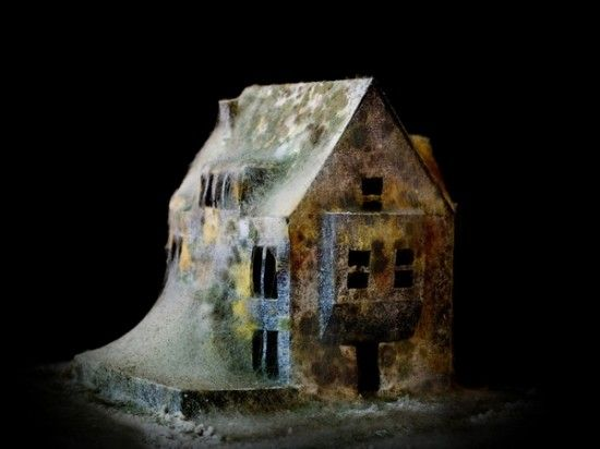 Form and Massing Interesting - Bay Element - Growing Chimney massing on side perhaps...?  Decaying house model by Italian artist Daniele Del Nero
