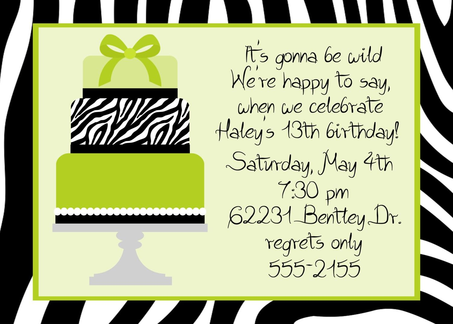 Black And White Themed Party Invitations Wording Black and white – Birthday Party Invitation Words
