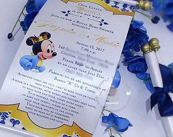 Royal Prince Baby Mickey Mouse Princess Scroll Invitation Birthday