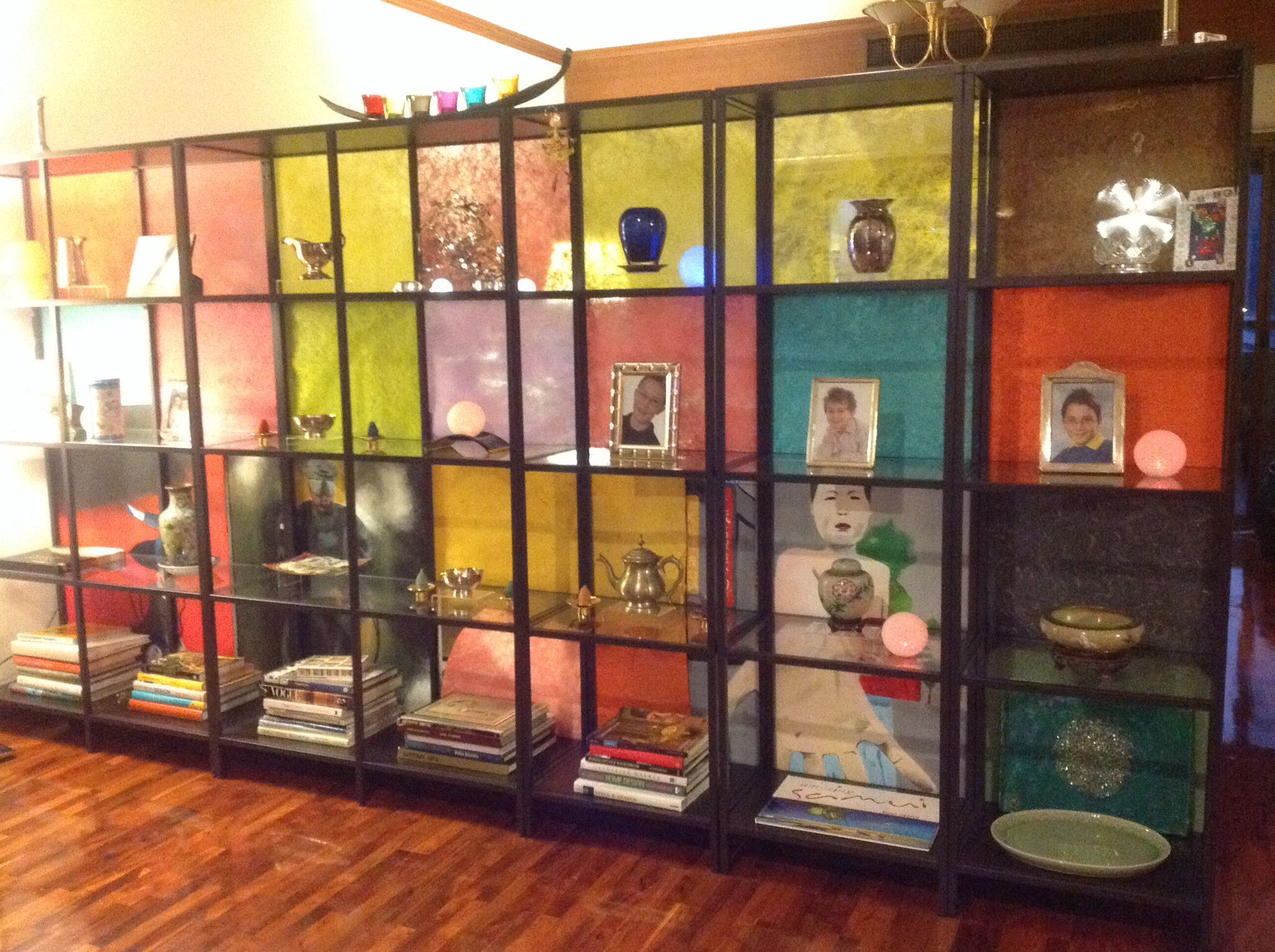 Room divider DIY     Ikea shelves and paper and canvas