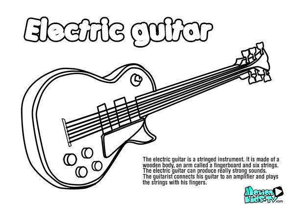 electric guitar coloring pages  musical instruments  music