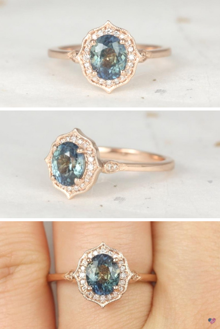 a2abcc85d24e5 Rosados Box Ready to Ship Mae 1.46cts 14kt Rose Gold Oval Ocean Teal ...