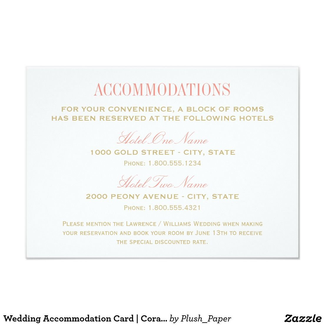 Wedding Accommodation Card Coral And Gold Gold Wedding