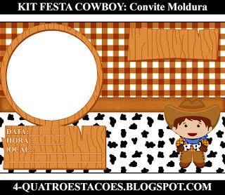 Kit Festa Infantil Gratuito para imprimir Tema Country Cowboy convite  moldura FAÇA SUA FESTA NO QUATR OESTAÇÕES af502875f28