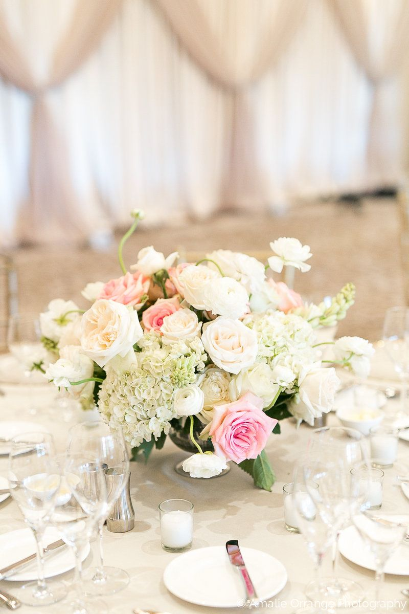 elegant and traditional large low centerpieces overflowing with ...