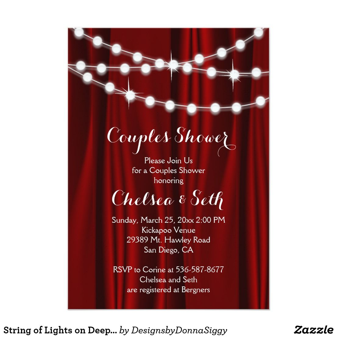String of Lights on Deep Red Satin Couple\'s Shower Invitation ...