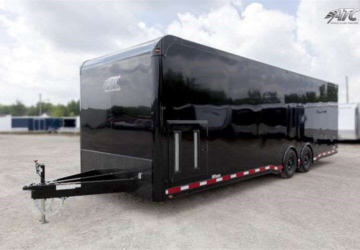 28 Enclosed Car Hauler With Black Gloss Exterior This Trailer Features An On Board Generator Compartment Enclosed Car Hauler Car Hauler Trailer Car Trailer