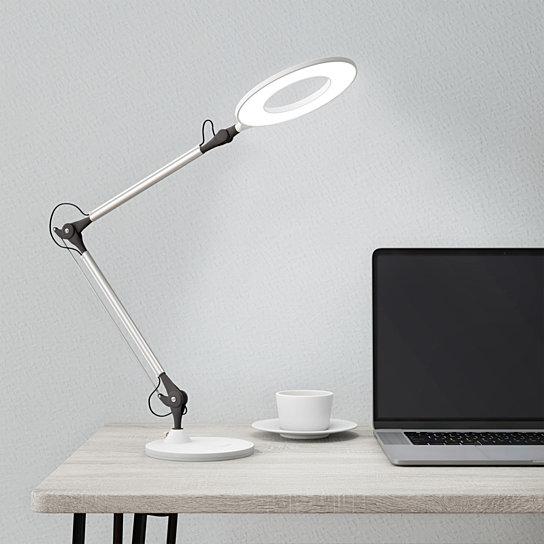 Desktop Swing Arm Architect Desk Lamp Led Ring Light Stepless Dimming High Cri 95 White Light Desk Lamp Led Desk Lamp Architects Desk