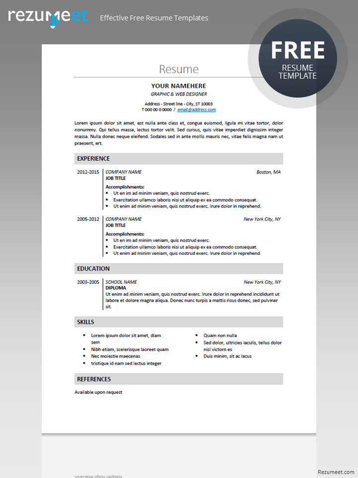 Free classic resume template | Basic resume templates | Pinterest