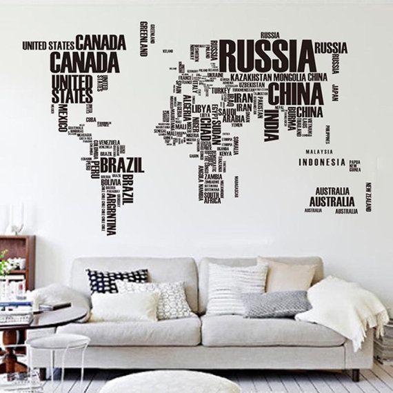 World Map In Text van TGO2014 op Etsy