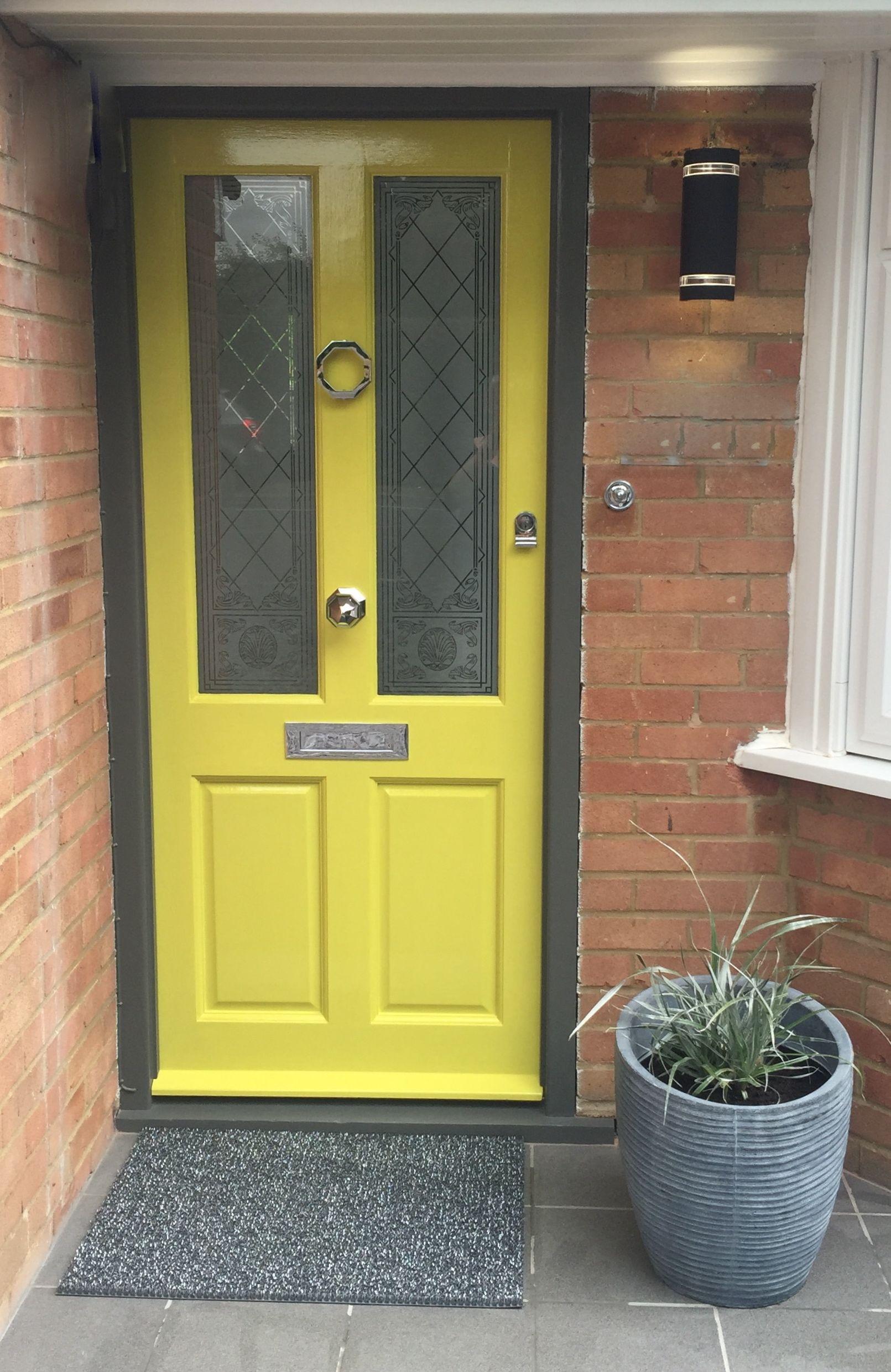 Chartreuse Front Door Colour Grey Frame Octagonal Door Knocker Polished Chrome Door