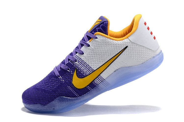 Genuine Kobe 11 Flyknit Lakers Home Win Warriors Vivid Purple White Gold b76e0056c7f6