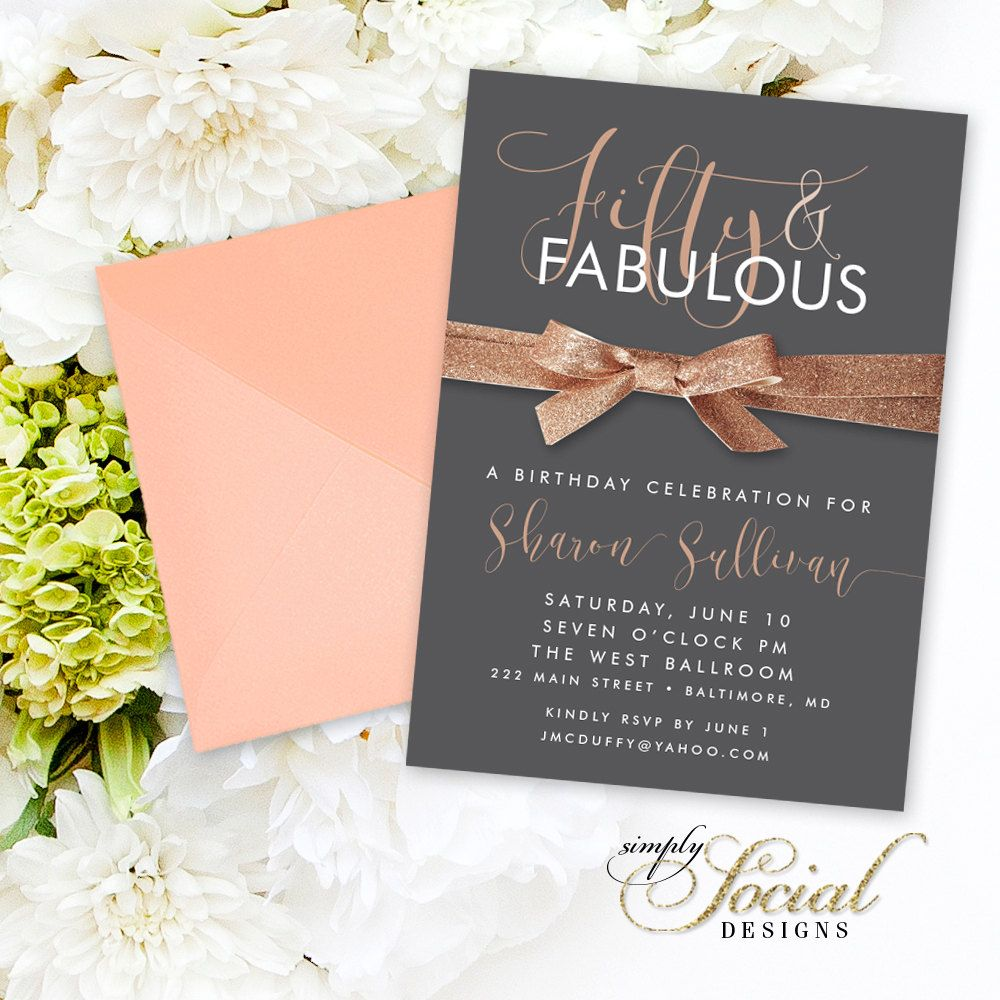 Fifty and Fabulous Birthday Invitation - Copper and Gray Rose Gold ...