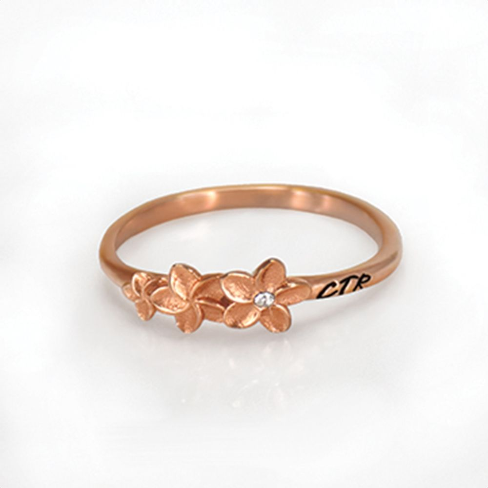 Plumeria CTR Ring Made of rose gold and has the Hawaiian plumeria