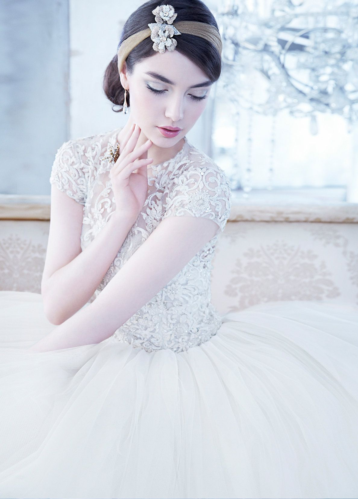 Ivory sparkle tulle bridal ball gown beaded and embroidered bodice