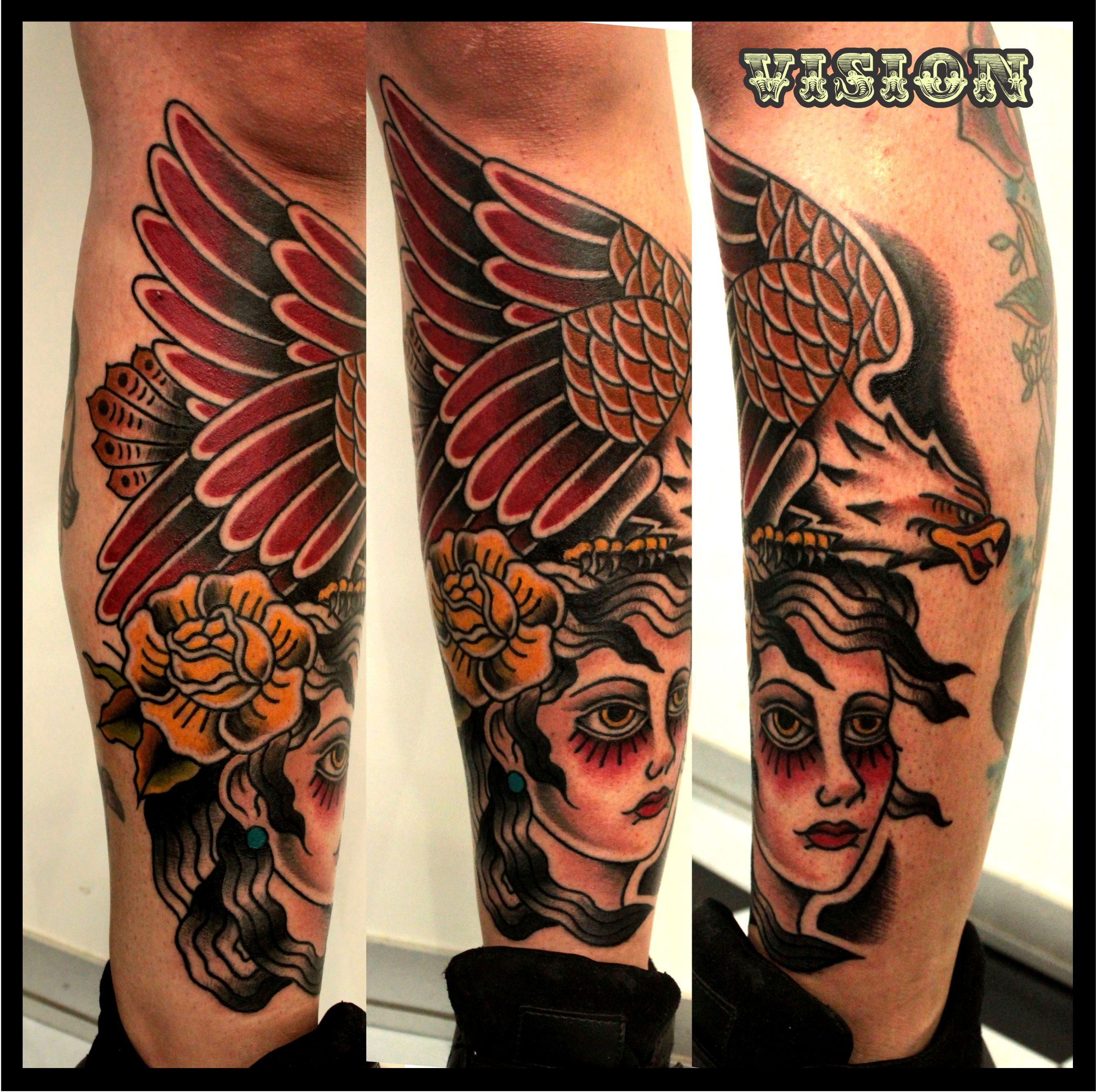 Tattoo old school tatuaggi old school pin up significato e foto quotes - Pin Up Girl Rose Eagle Tattoo Traditional Oldschool By Vision Renato
