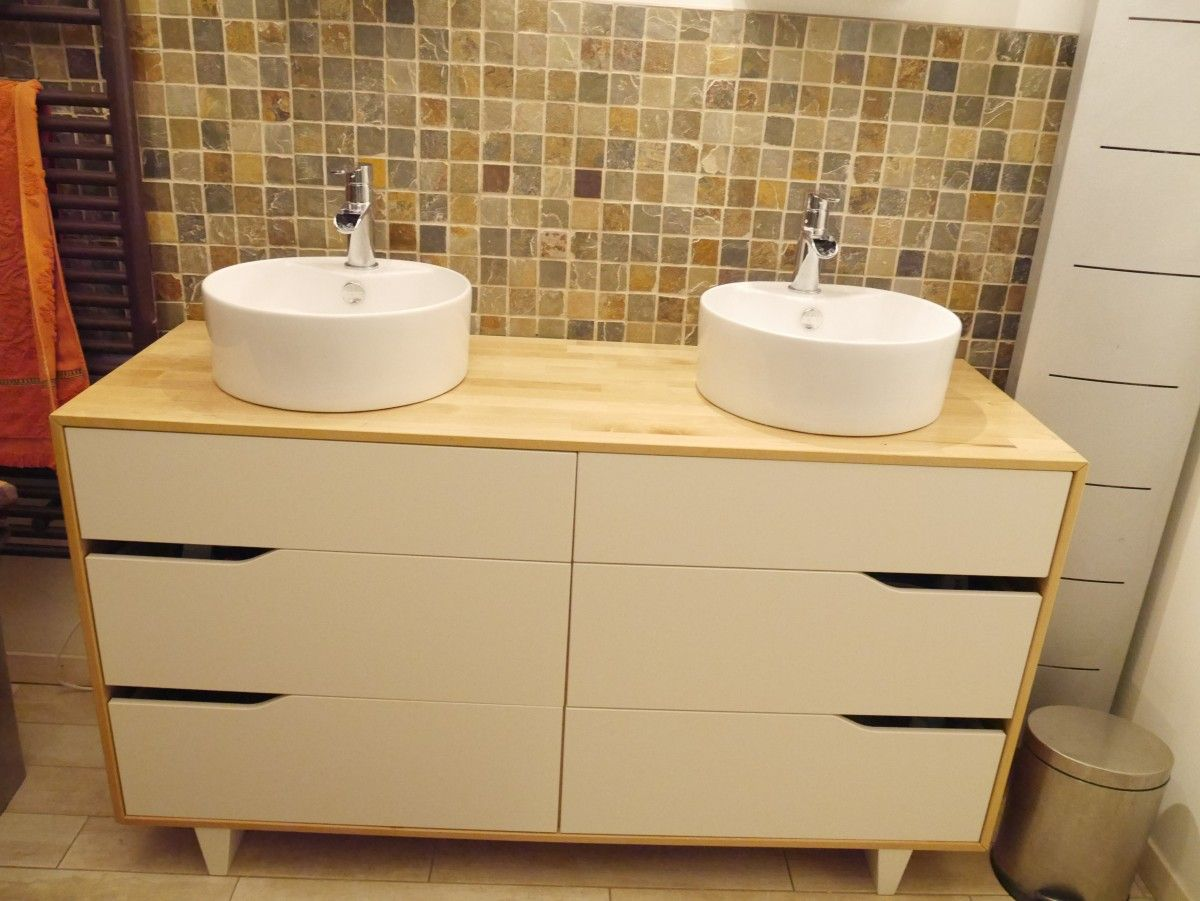 Meuble salle de bain double vasque ikea hack bathroom for Console meuble ikea