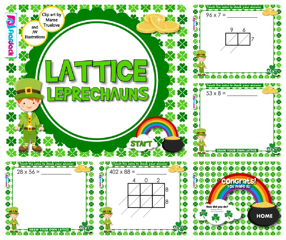 Lattice Leprechauns (Multiplication) Smart Board Game - FREE Have ...