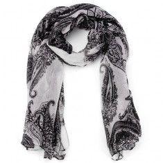 Étnico estilo bohemio Negro Blanco Imprimir Paisley mantón scaves Paisley gasa bufanda