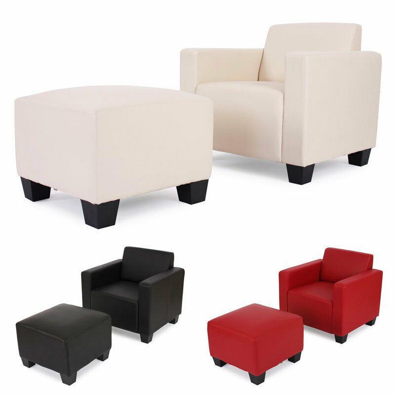 Modular Sessel Loungesessel Mit Ottomane Lyon Kunstleder Schwarz Rot Creme In 2020 Lounge Sessel Sessel Sessel Design