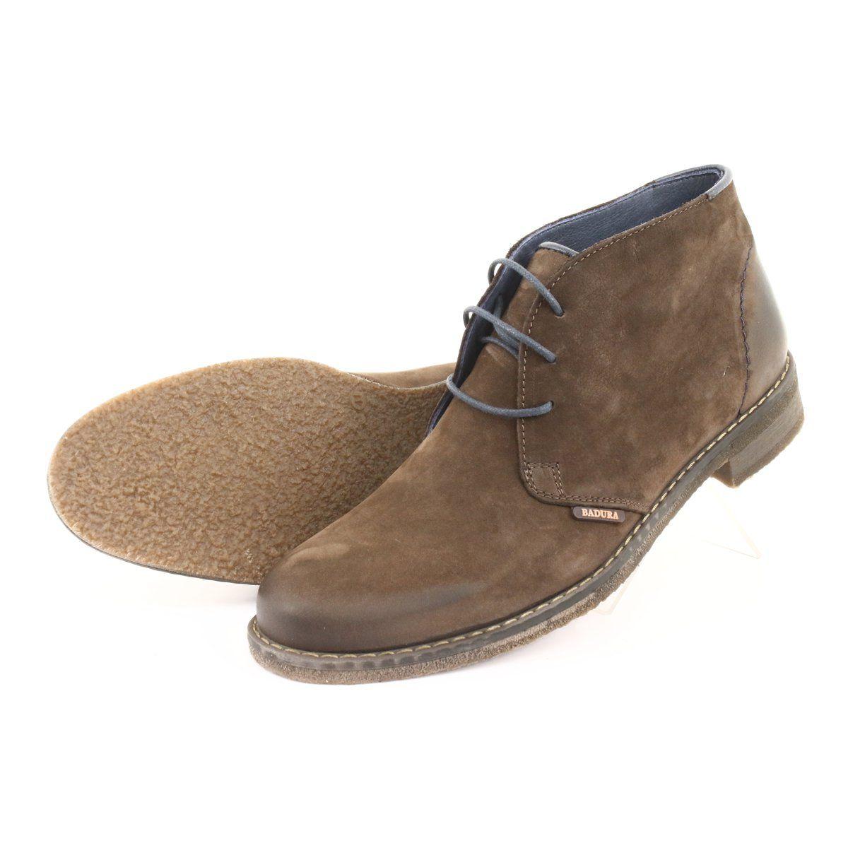 Trzewiki Botki Badura 4753 Brazowe Boots Nubuck Leather Shoes Mens