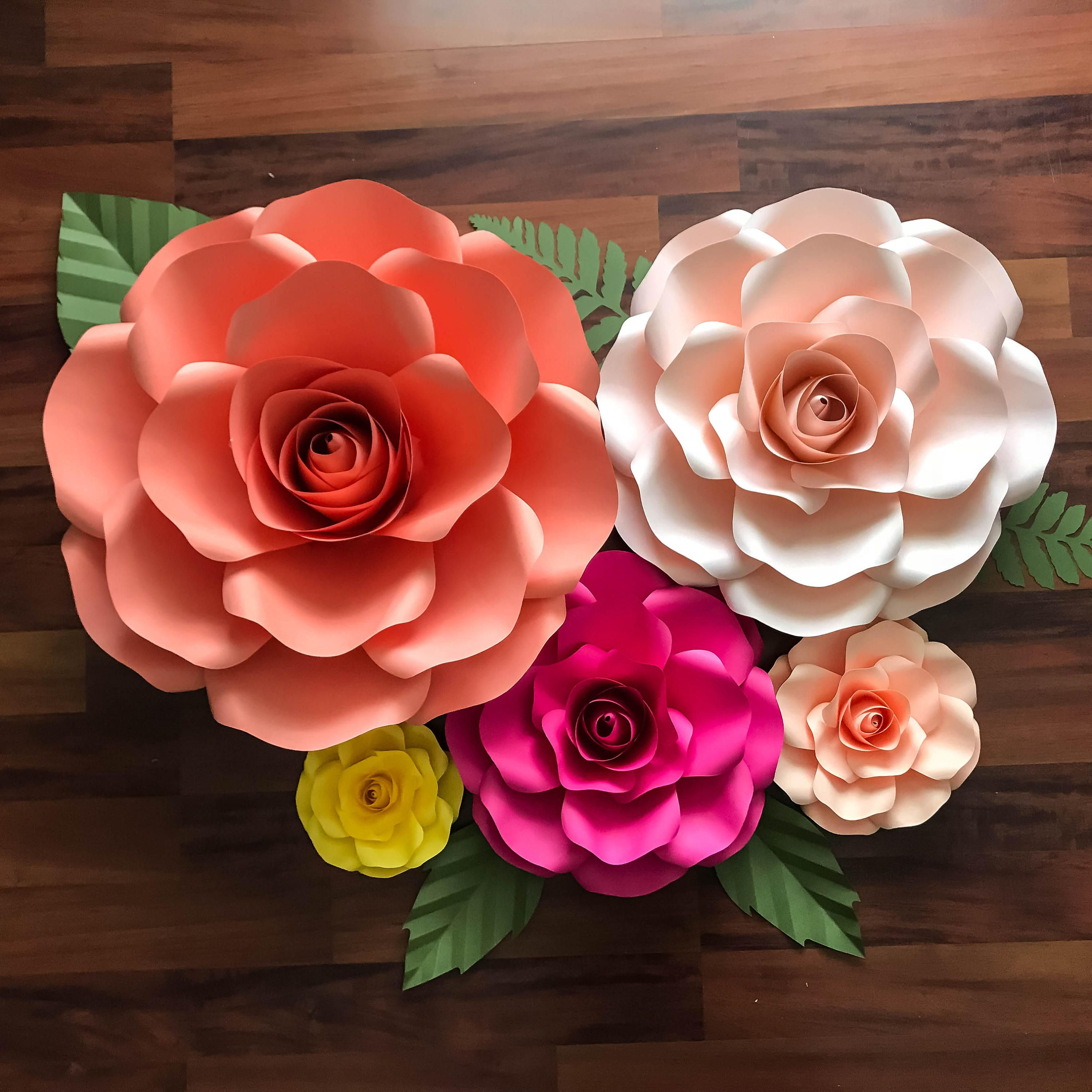 Paper Flowers Svg Combo Of 5 Sizes Rose Paper Flower Template Diy