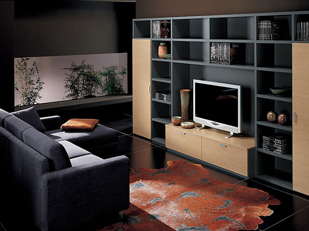 Best design modern living room tv unit living room for Modern living room shelving units