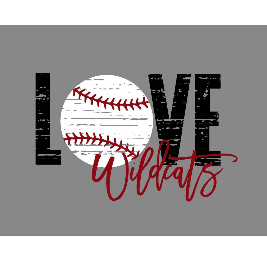 Love Wildcats Baseball Distressed SVG   Baseball ...