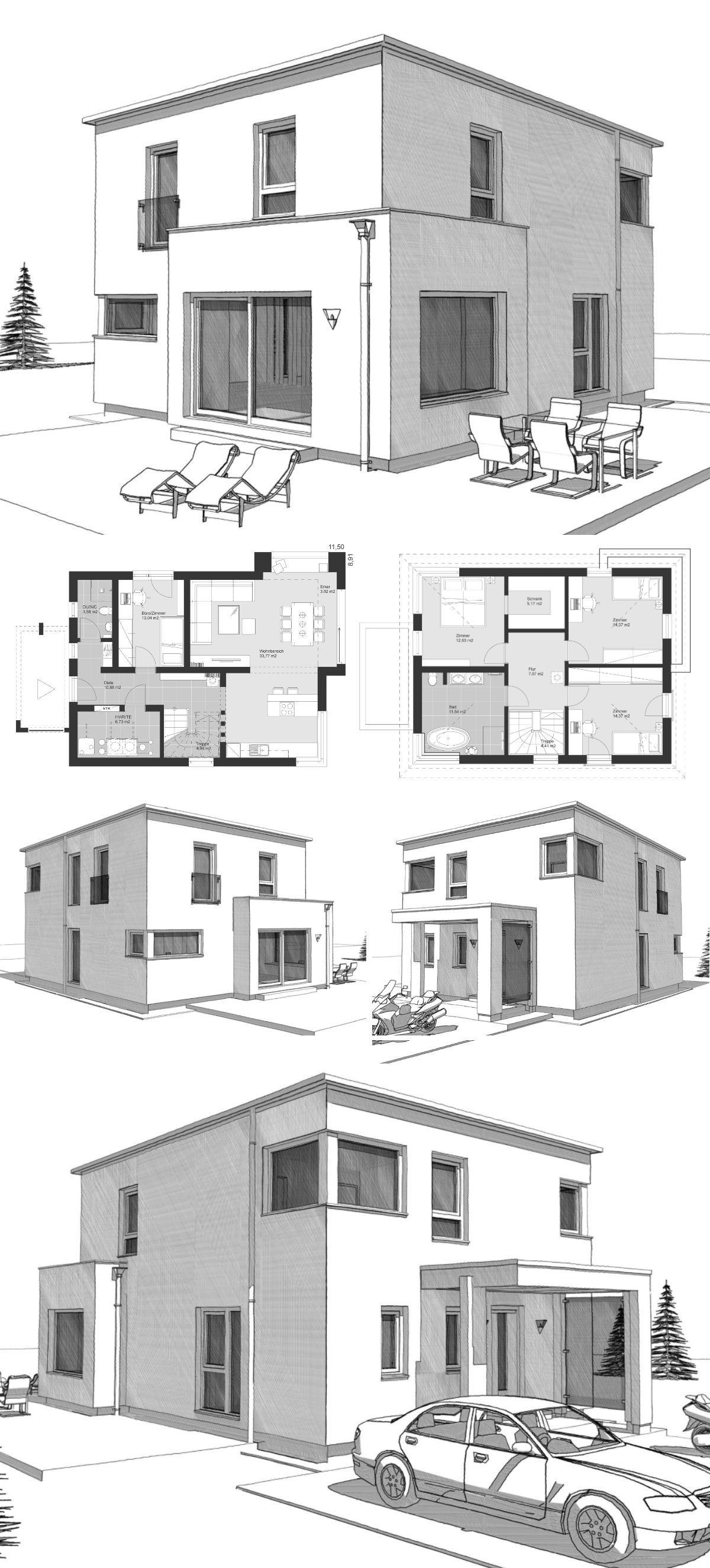 elk haus 186 mit flachdach im bauhausstil elk fertighaus. Black Bedroom Furniture Sets. Home Design Ideas
