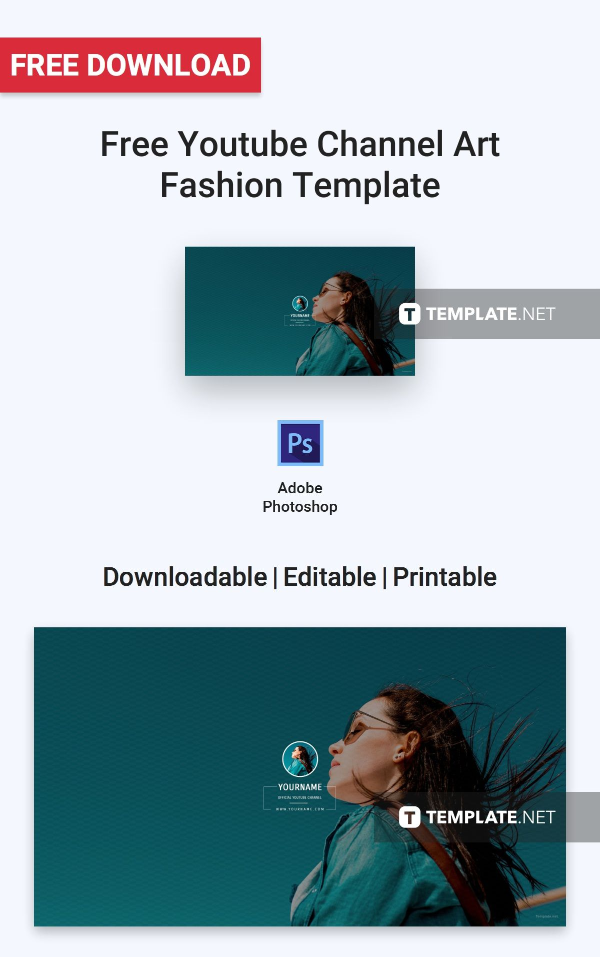 free youtube channel art fashion social media templates designs