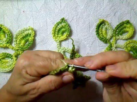 Folhas de croche com nervuras