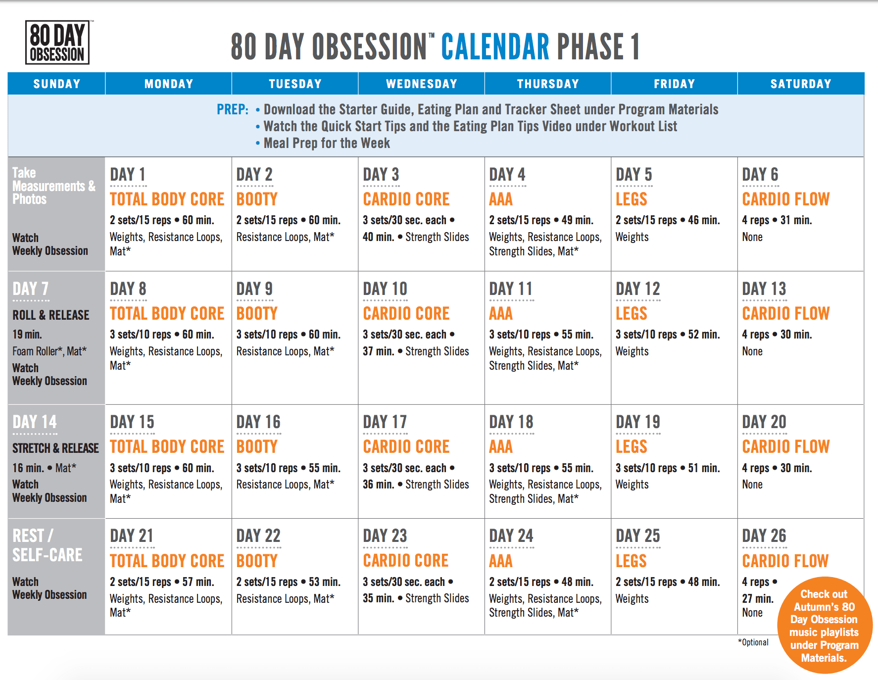 80 Day Obsession Phase 1 Calendar 1 774 1 374 Pixels