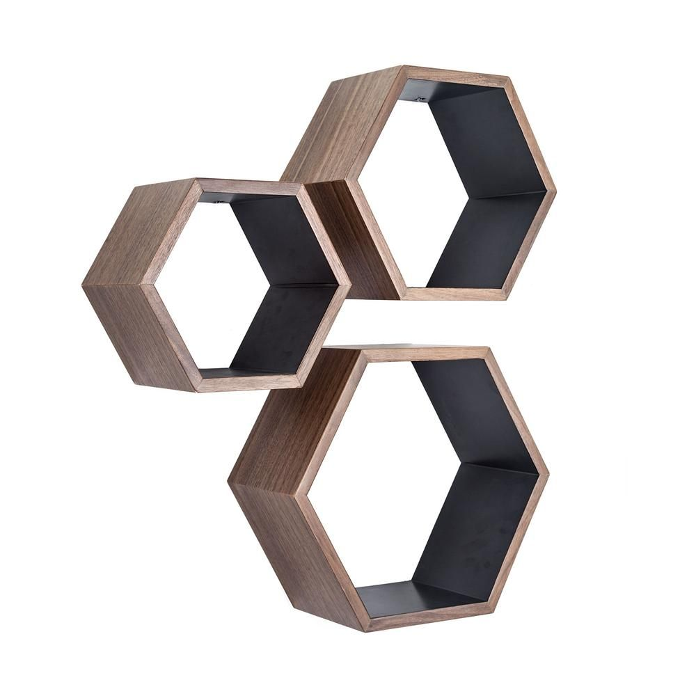 Walnut Nesting Hexagon Shelves - Set of 3 | dotandbo.com