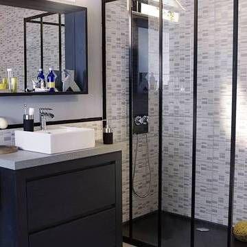 d co douche l italienne esprit verri re d int rieur et carreaux de ciment salle. Black Bedroom Furniture Sets. Home Design Ideas