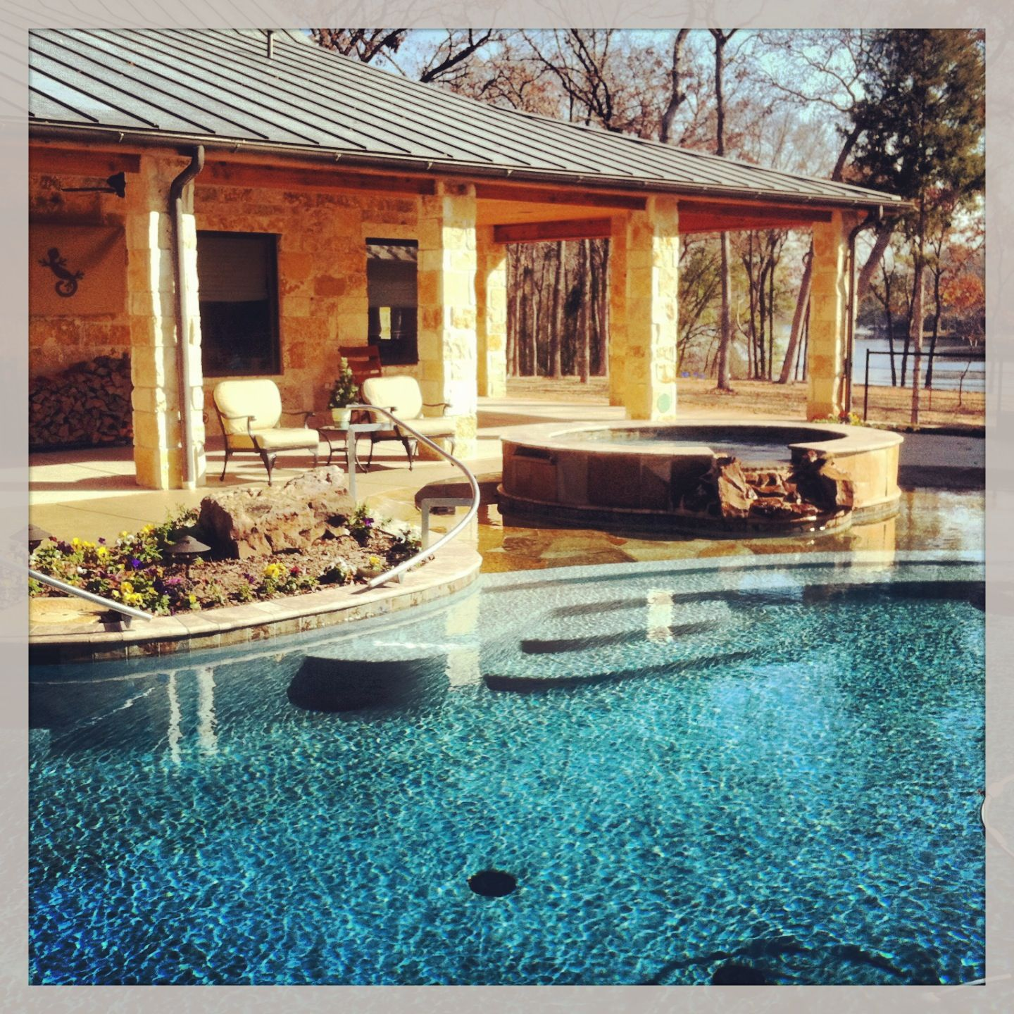 #gunite #swimming #pool and #gazebo with #grill area, #sundeck and #spa #hottub with #flagstone #coping #construction #builder #preferredpools #summer #backyard #outdoor