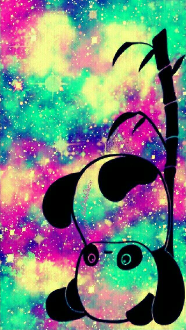 Topsy Turvy panda iPhone/Android galaxy wallpaper I created for the app CocoPPa!!   Fondos de ...